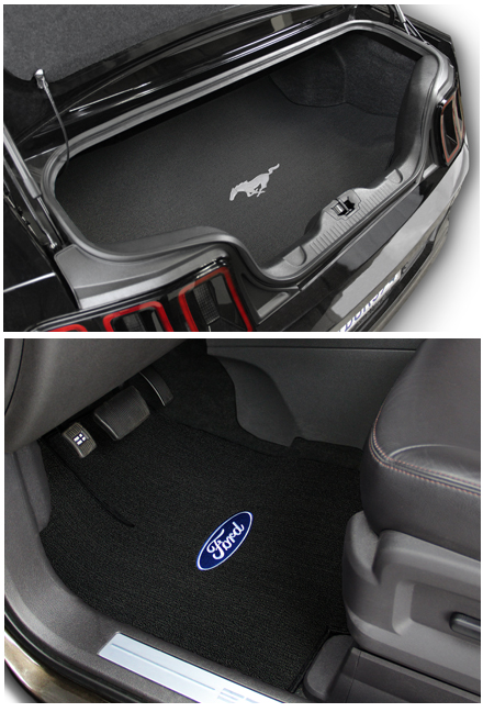 custom fit classic loop Mustang logo floor mats, Lloyd Mats classic loop carpet mats with Mustang and Shelby logo.  Replaces OEM floor mats