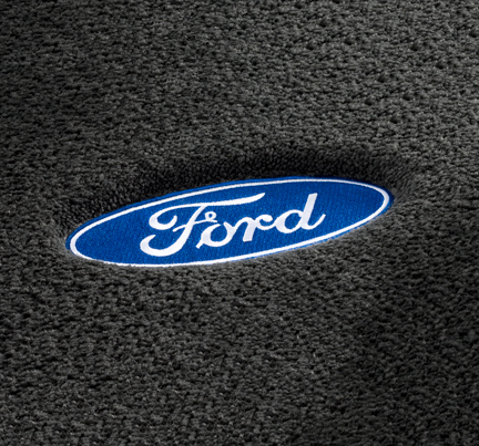 luxury custom fit Ford floor mats, Lloyd Mats Luxe carpet mats with Ford logo.  Replaces OEM carpet mats