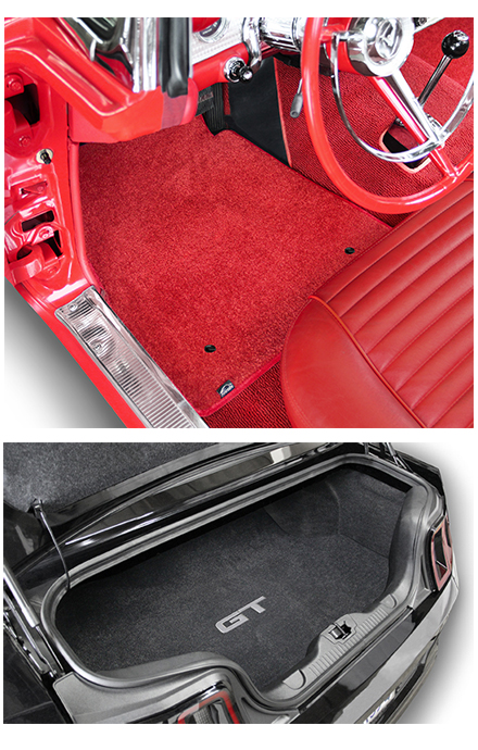 Custom fit Mustang logo floor mats, Lloyd Mats Ultimat Mustang carpet mats with Mustang logos. For 1964 through 2015 Mustang. Replaces OEM carpet mats
