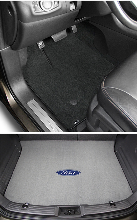 Lloyd Mats Velourtex carpet mats with Ford Mustang logo. For all Mustang vehicles. Replaces OEM carpets